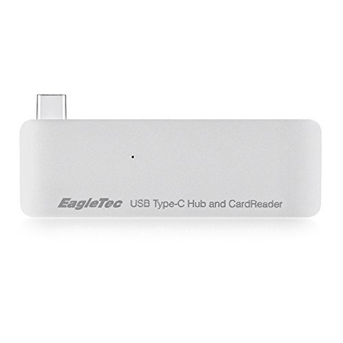 EagleTec B051 Aluminum USB Type-C USB 3.0 3 in 1 Combo Hub For MacBook 12-Inch (supports USB-C Pass-Through Charging) (Silver)
