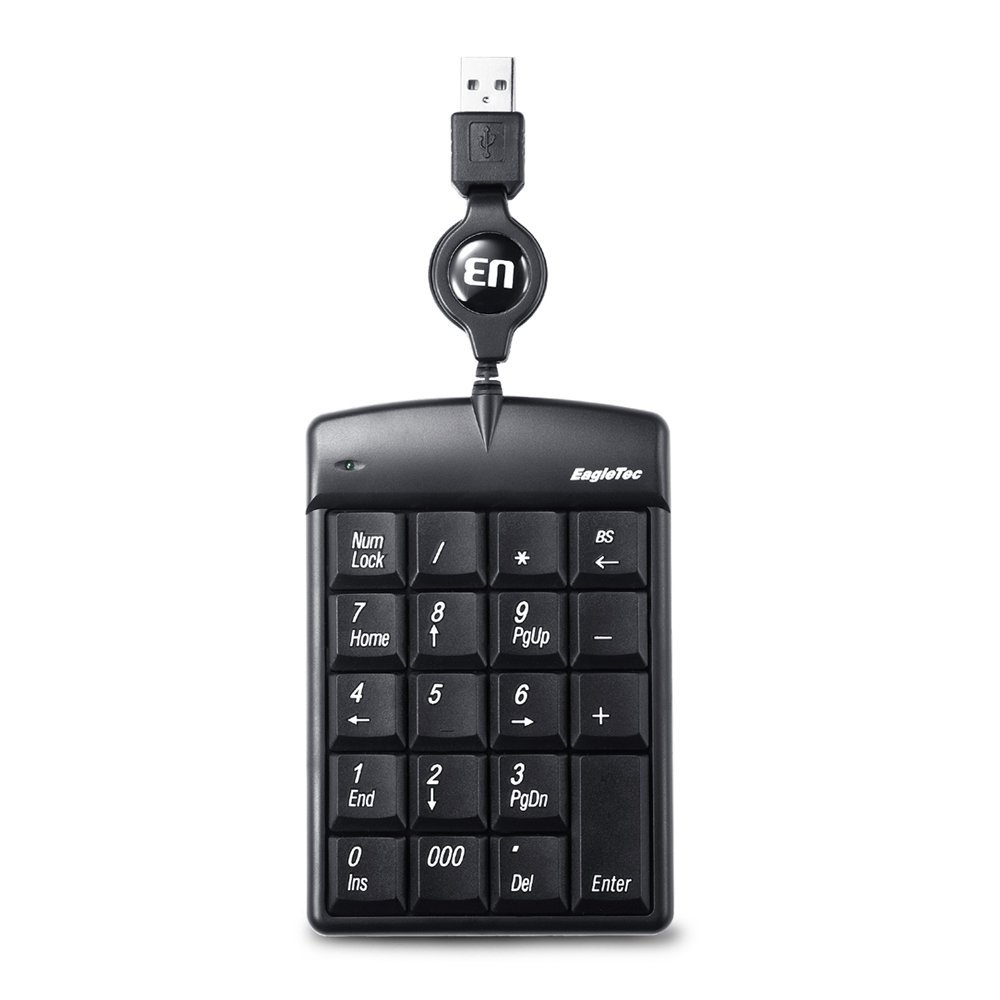 EagleTec KN001 USB Numeric Keypad, 10mm Ultra-Thin Full Size With 19 Keys , 70cm Retractable USB Cable, Plug And Play