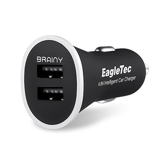 EagleTec ET-UCAP44E 4.8A / 24W 2-Port Intelligent USB Car Charger With Brainy Technology for iPhone, iPad, Samsung Galaxy S6 / S6 Edge, Nexus, HTC M9, Motorola, Nokia and Other Android Smartphone/Tablets