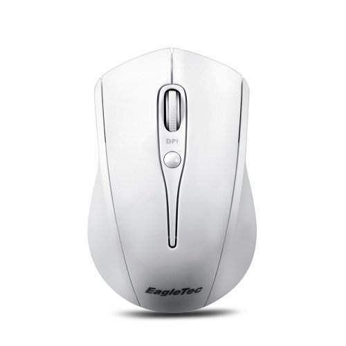 EagleTec MR3M2449 2.4GHz Wireless Optical Mouse, Switchable DPI 1000/1500/2000, with Nano USB Receiver (White Color)